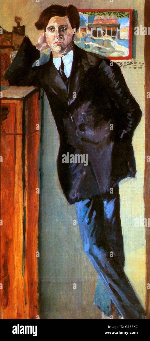 Porträt von Berg von Arnold Schönberg, 1910 gemalt. Alban Maria Johannes Berg (9. Februar 1885 - 24. Dezember Stockbild