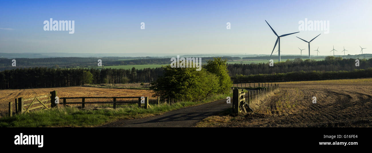 Windkraftanlagen über Ackerland bei Whittonstall, in der Nähe von Ebchester in der Grafschaft Durham, Stockbild