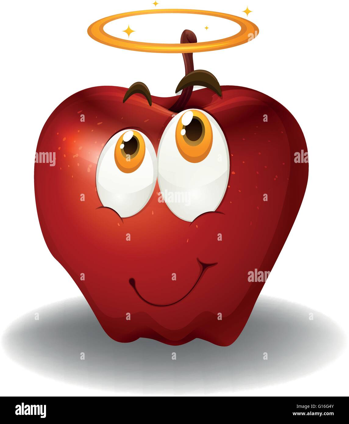Roter Apfel mit Smiley-illustration Stockbild