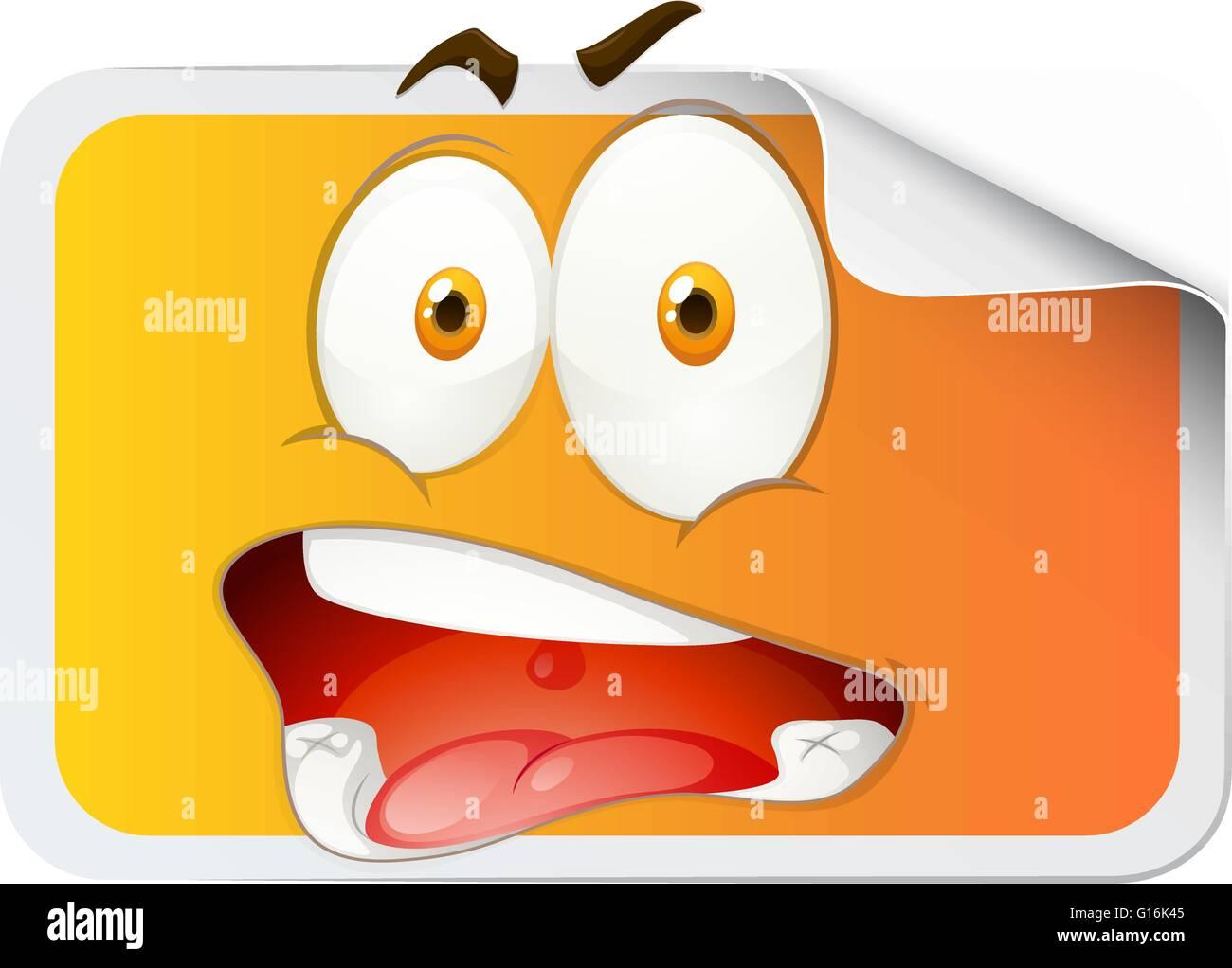 Aufkleber mit dummen Gesicht illustration Stockbild