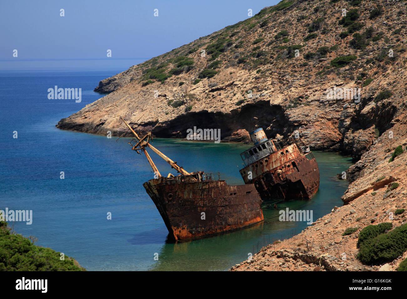 Schiffbruch auf Amorgos, Griechenland Stockfoto