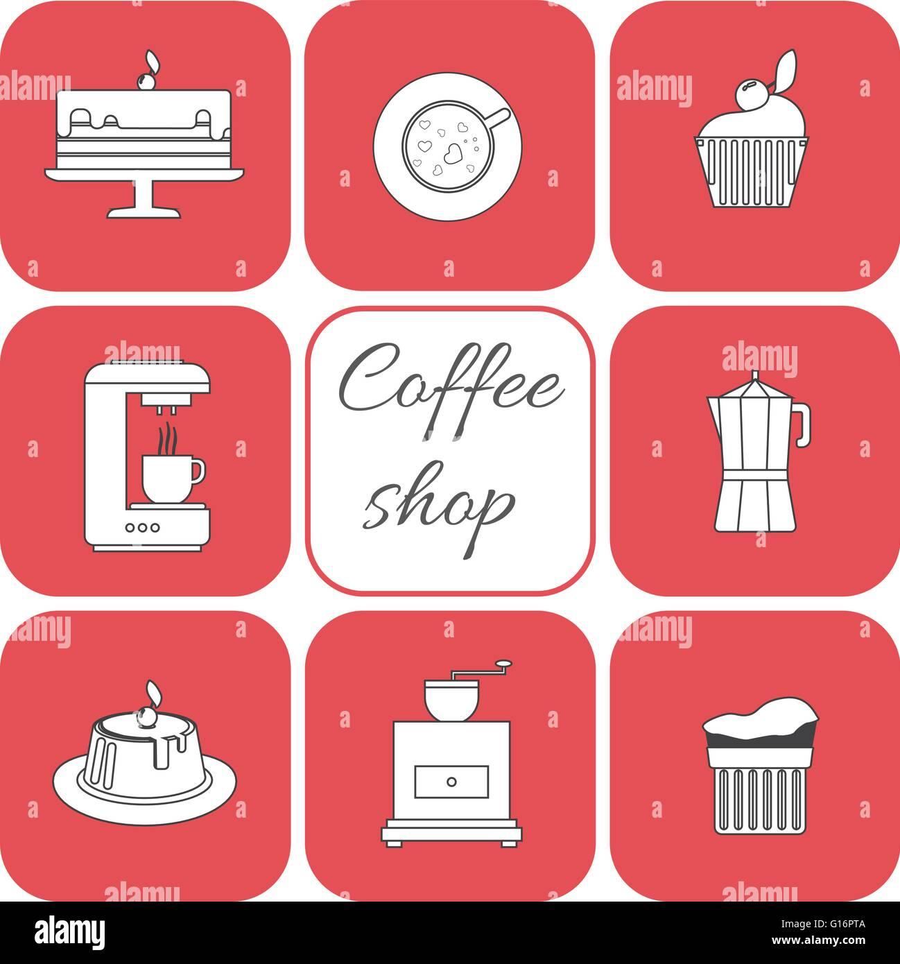 Ein Satz Von Elementen Kaffee Tasse Kaffee Mit Kuchen Glas Dampf