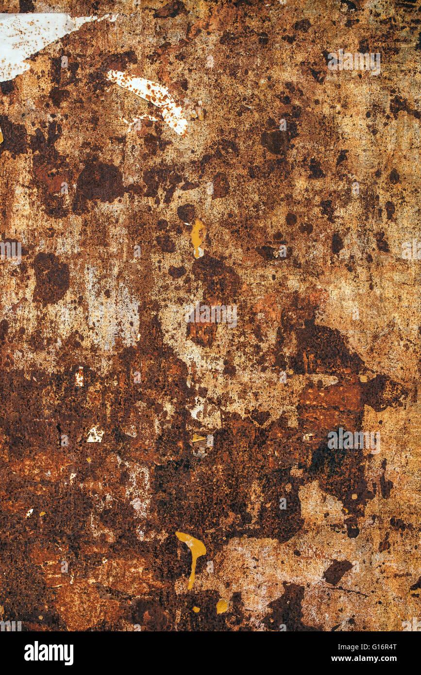 Detaillierten Textur des alten rostigen Metall Plattenoberfläche, braune korrodierte Metall Reststück. Stockbild