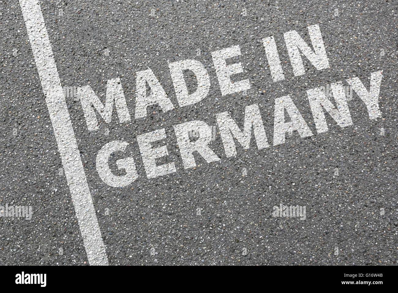 Hergestellt in Deutschland Qualität marketing Firma Produktkonzept Stockbild