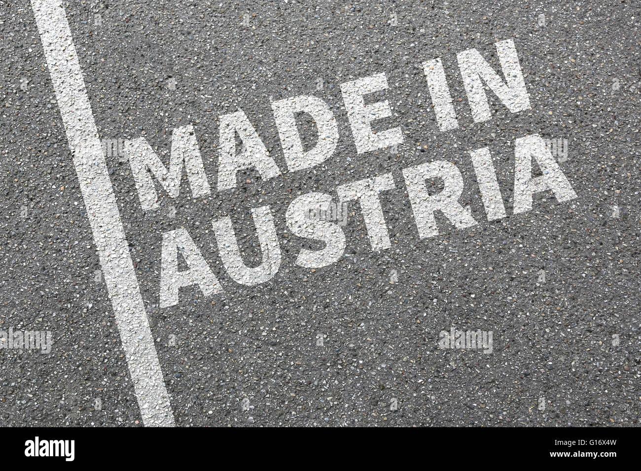 Hergestellt in Österreich Produkt marketing Gesellschaft Qualitätskonzept Stockbild