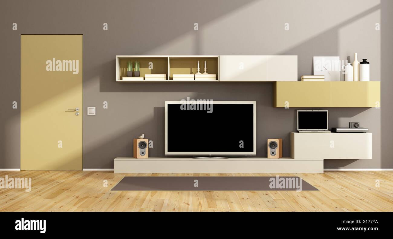 Modernes Wohnzimmer Mit Schrankwand, Fernseher Und Geschlossen Tür   3d  Rendering
