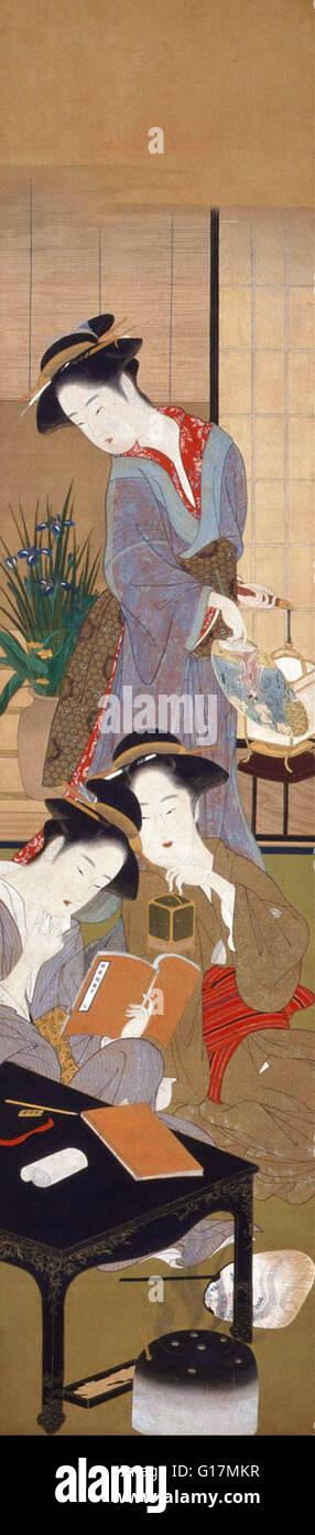 Katsukawa Shunsho - Frauen und Ereignisse der 12 Monate - MOA Museum of Art Stockbild