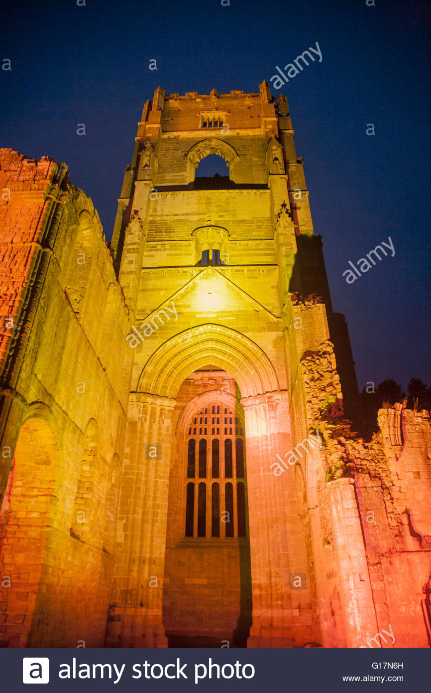 Fountains Abbey, Ripon, Yorkshire, Großbritannien Stockbild
