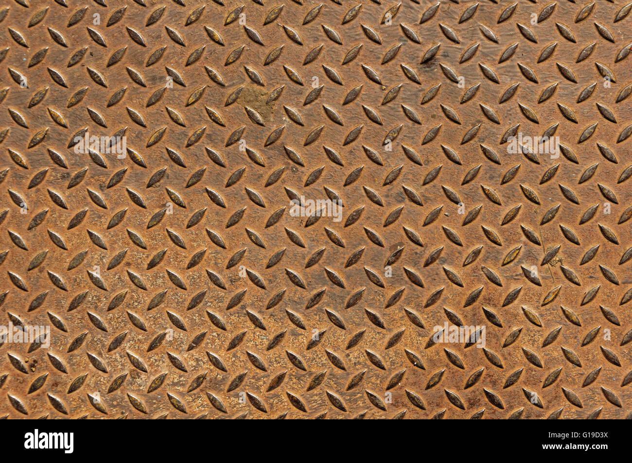 alte rostiger Diamant Lauffläche Anti Rutsch Metallplatte Hintergrund Stockbild