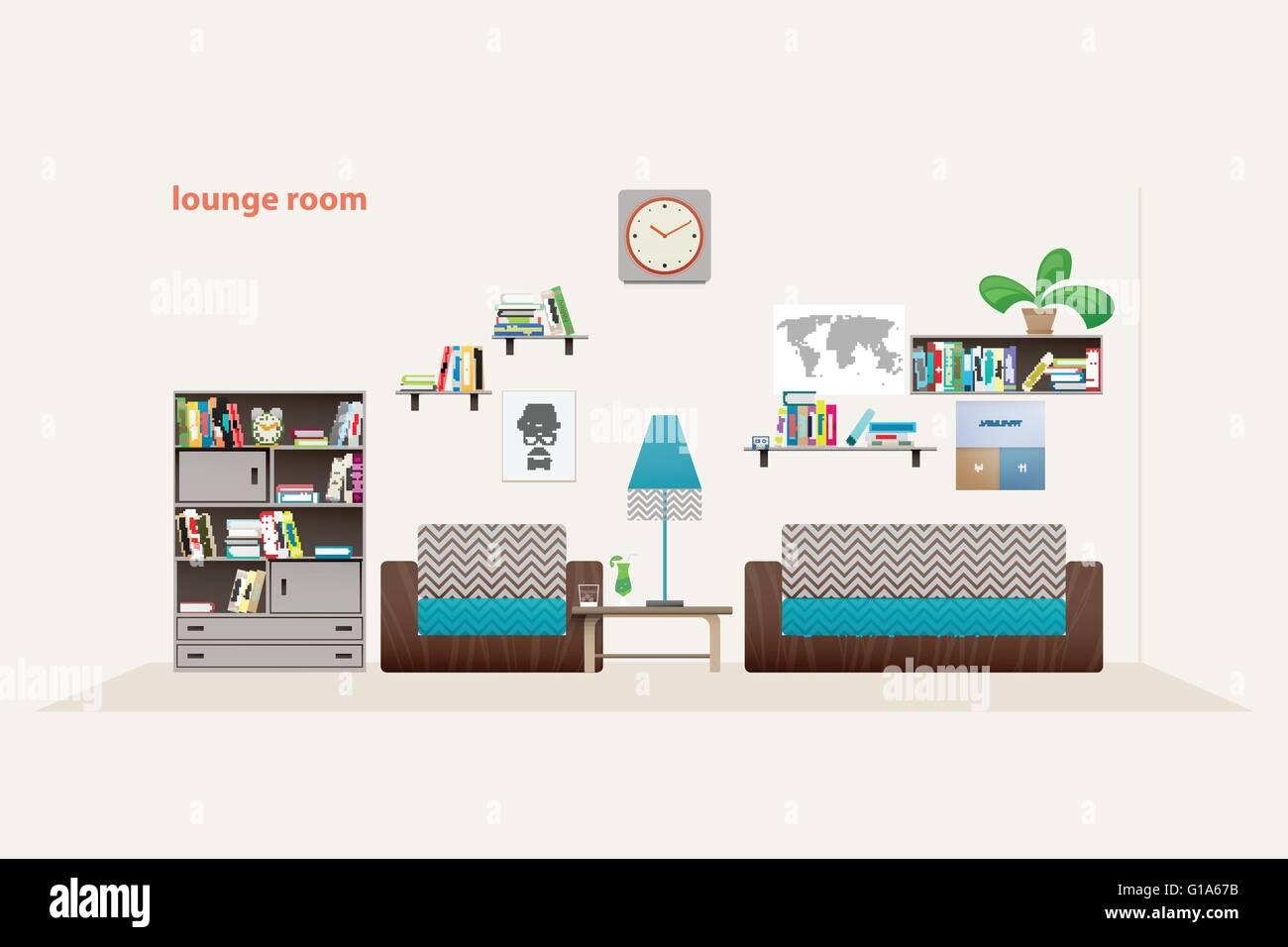 moderne Lounge-Zimmer mit Möbeln, die isoliert auf weißem ...