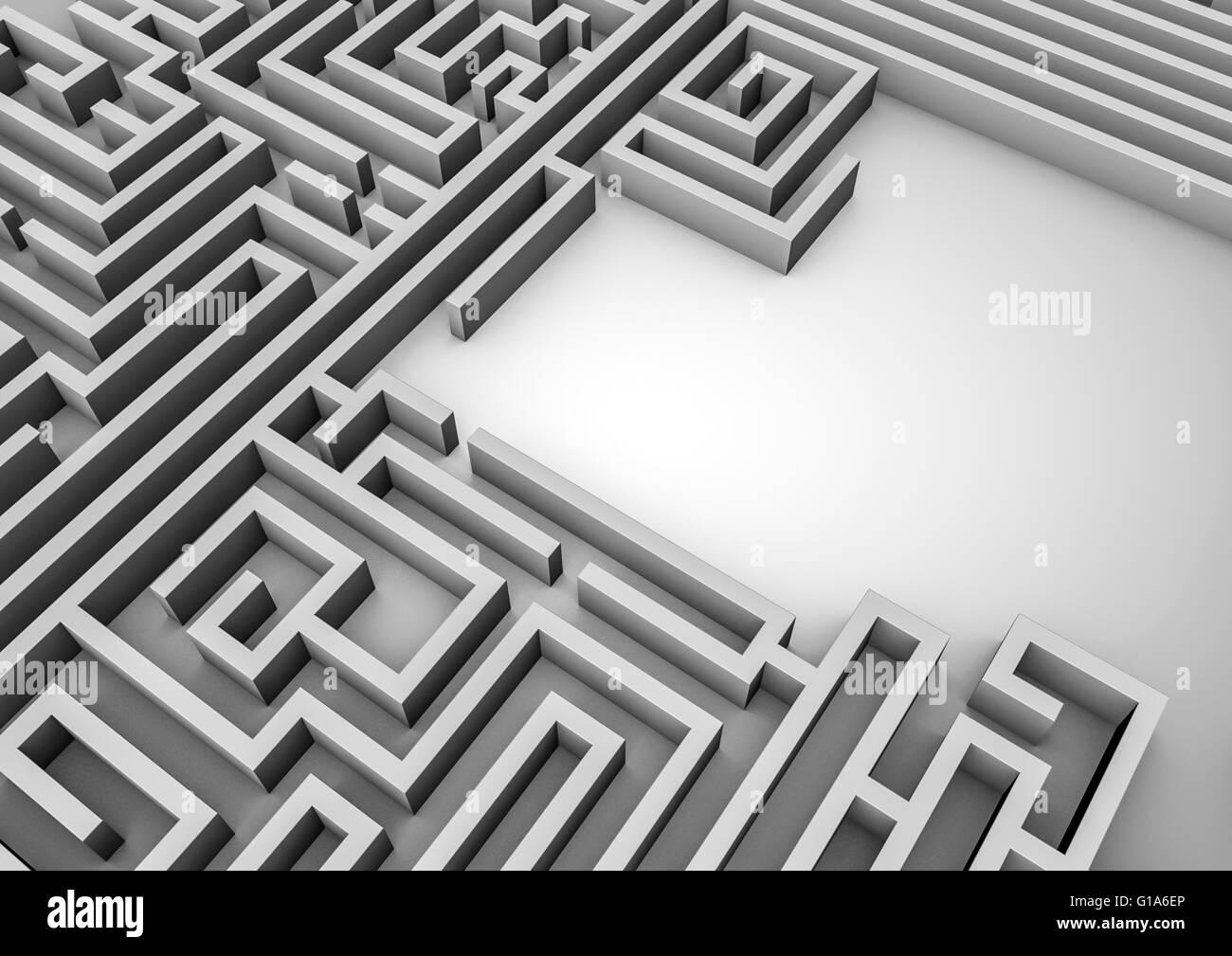 Labyrinth der Raum / 3D-Render Labyrinth mit Textfreiraum Stockbild