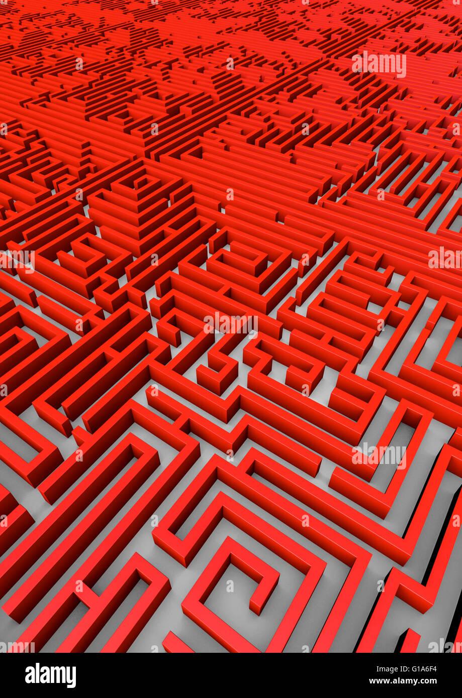 Labyrinth der Hintergrund / 3D Render des Riesen-Labyrinth erstreckt sich zum Horizont Stockbild