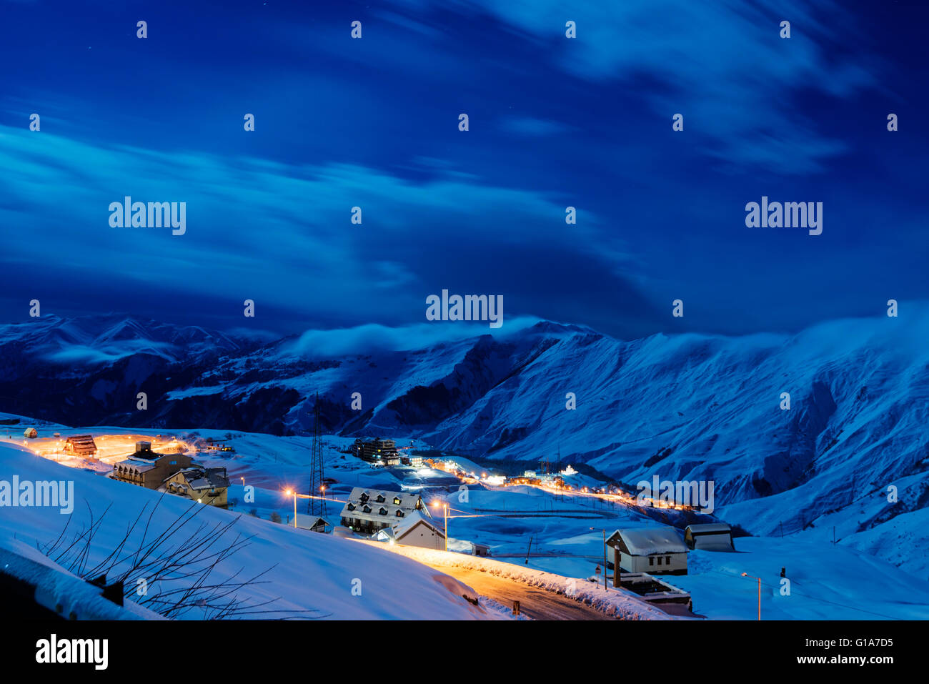 Eurasien, Kaukasus, Georgien, Skigebiet Gudauri Stockbild