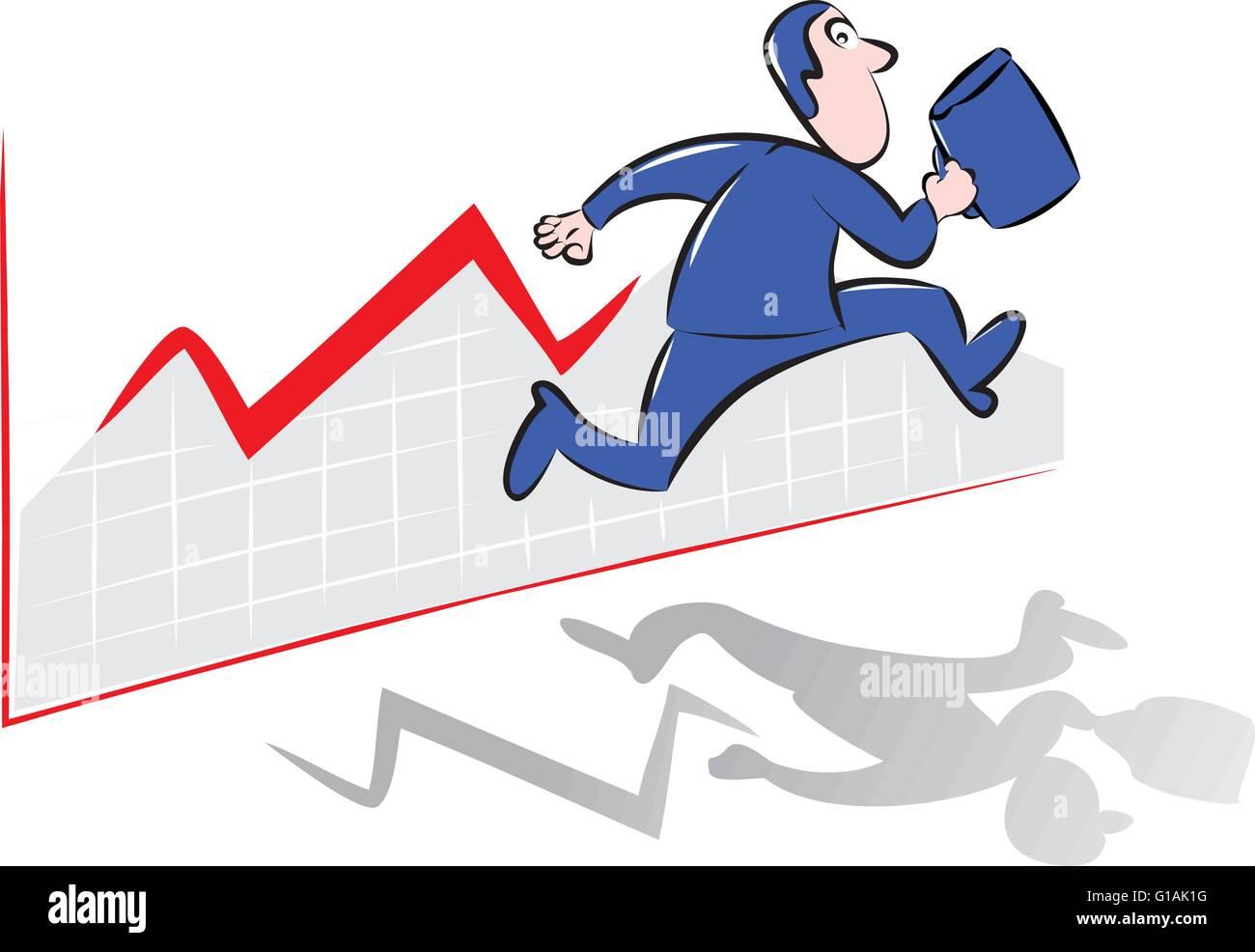 Unternehmer, die auf der Vorderseite des roten Chart Diagramm Stockbild