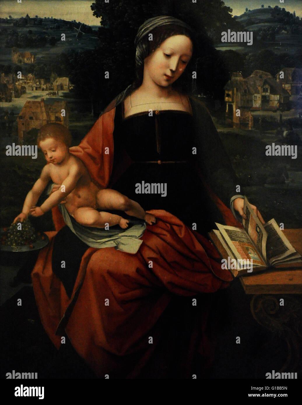 Meister der weiblichen Halbfiguren. 16. Jahrhundert. Die Jungfrau und das Kind. Die Eremitage. Sankt Petersburg. Stockbild