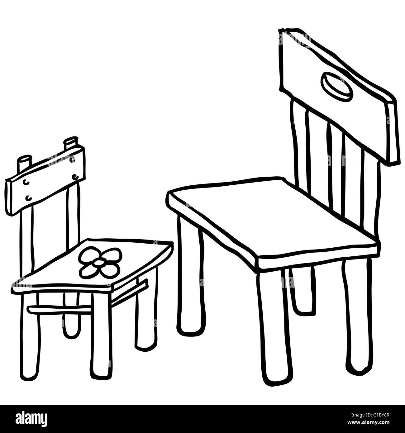 Stühle Abbildung Bild Weiße Cartoon Einfache Schwarze Und Vektor GMVSUzqp
