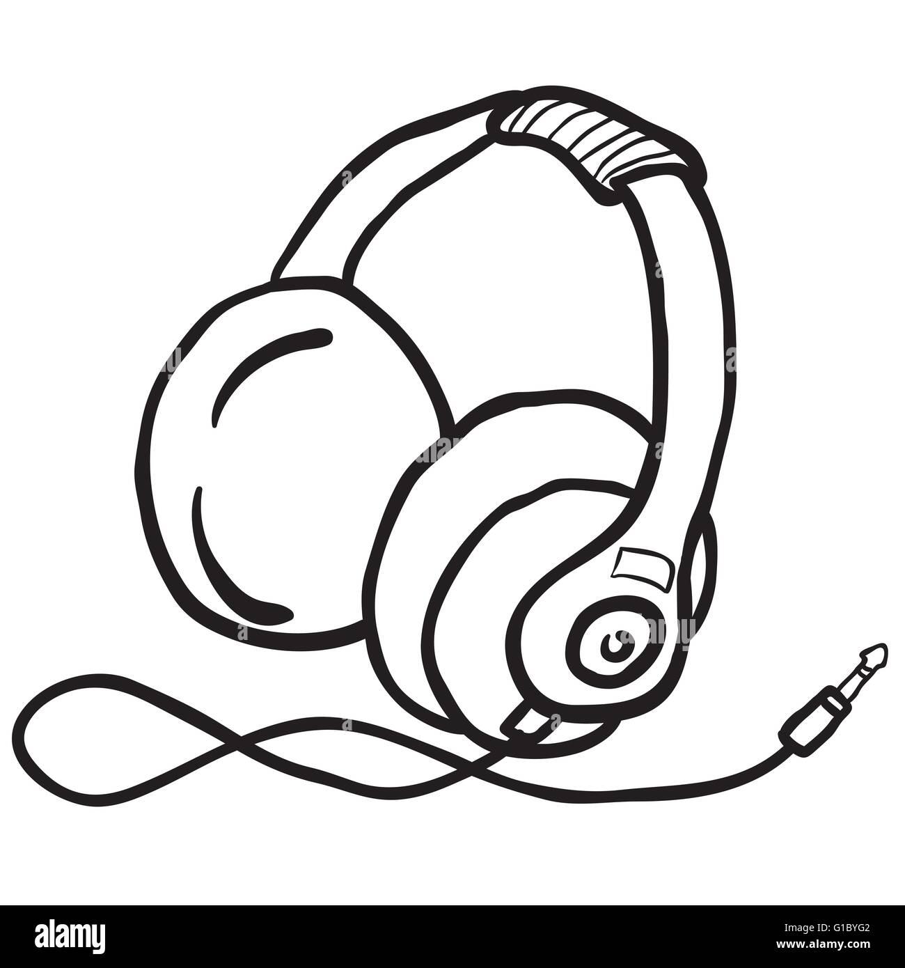 einfache schwarze und weiße Kopfhörer Vektor Abbildung - Bild ...