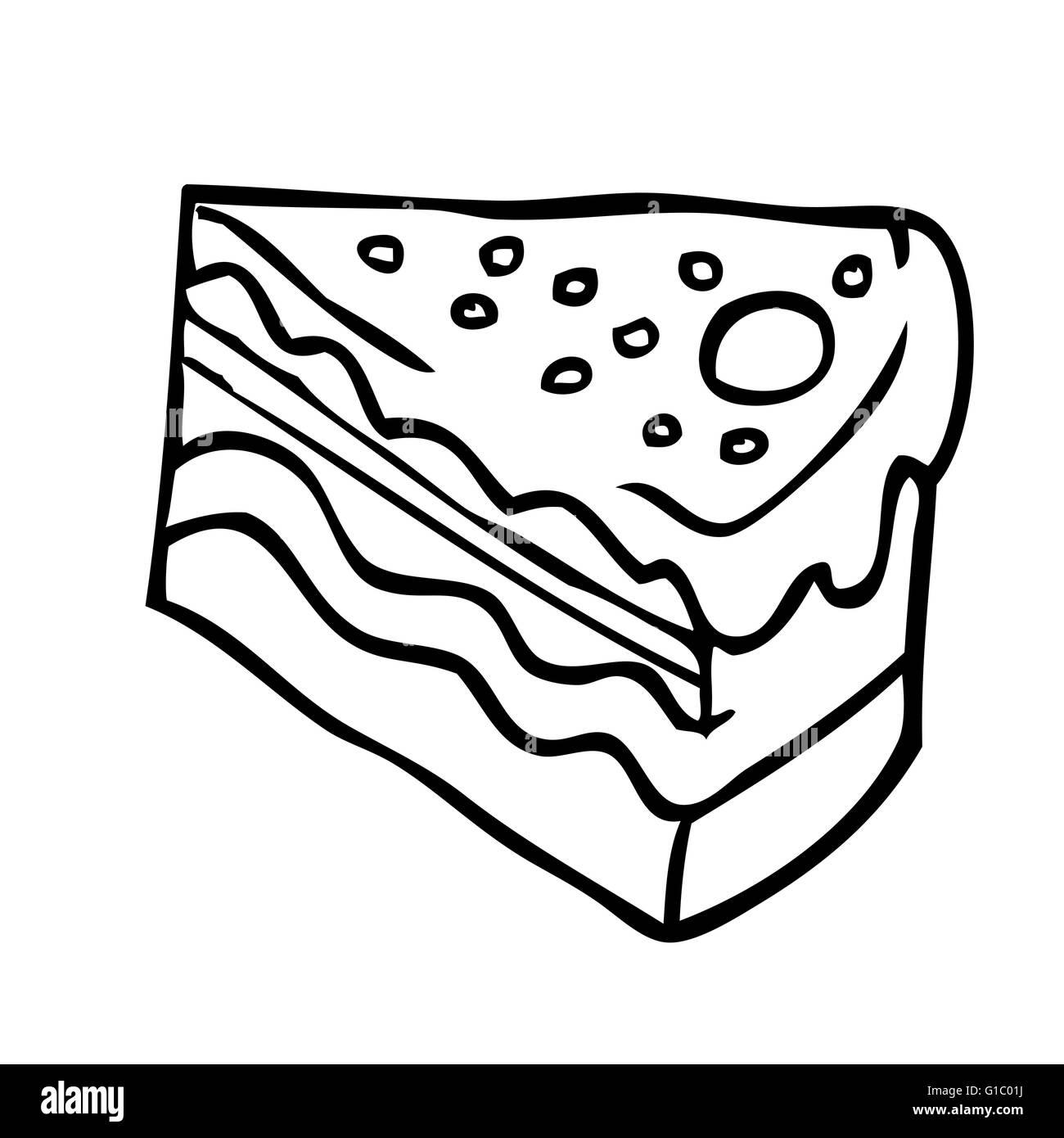 Einfache Schwarz Weiss Stuck Kuchen Cartoon Vektor Abbildung Bild