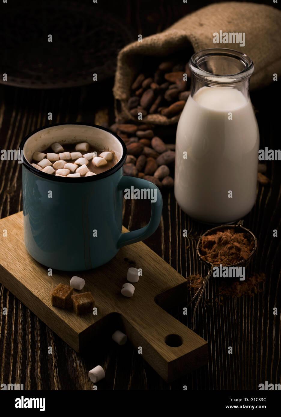 Retro-Becher mit hausgemachte heiße Schokolade und marshmallow Stockbild
