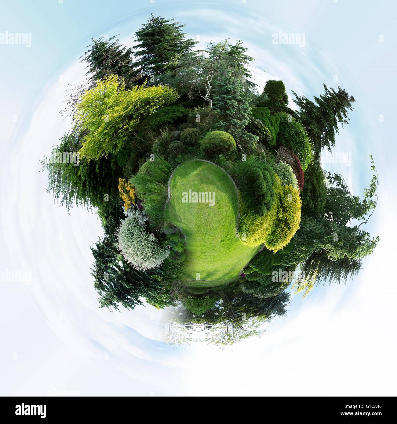Mini Planet Der Schöne Frühling Garten Design Nadelbaum Bäume