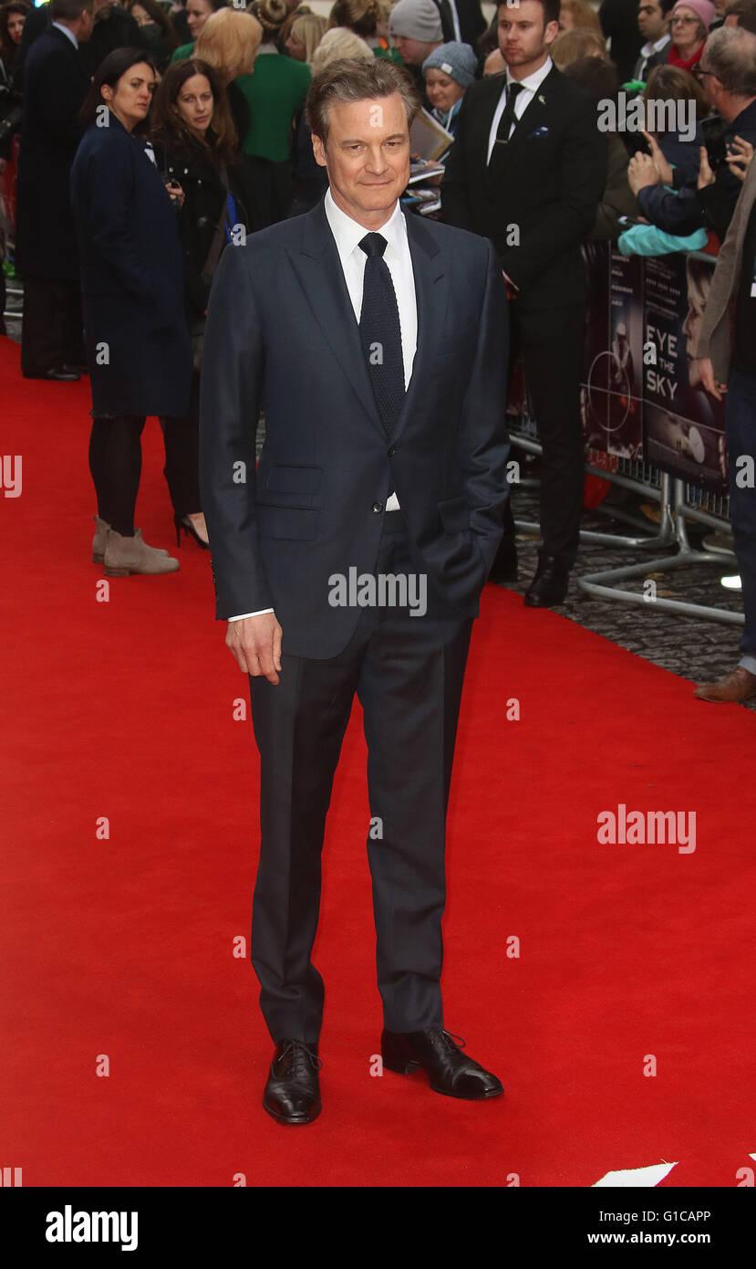 11. April 2016 - Colin Firth Teilnahme an Auge in der Sky UK Premiere beim Curzon, Mayfair in London, Vereinigtes Stockbild