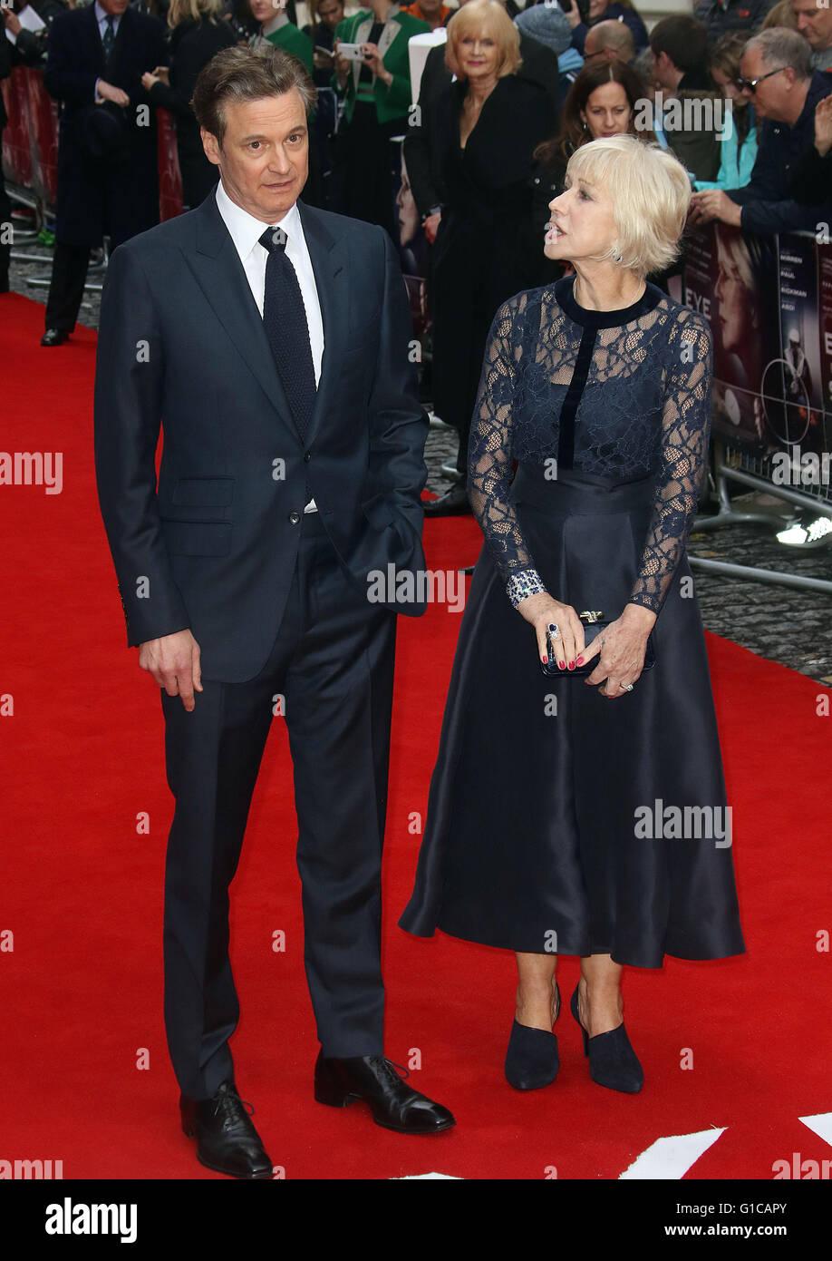 11. April 2016 - Colin Firth und Helen Mirren Teilnahme an Auge in der Sky UK Premiere beim Curzon, Mayfair in London, Stockbild