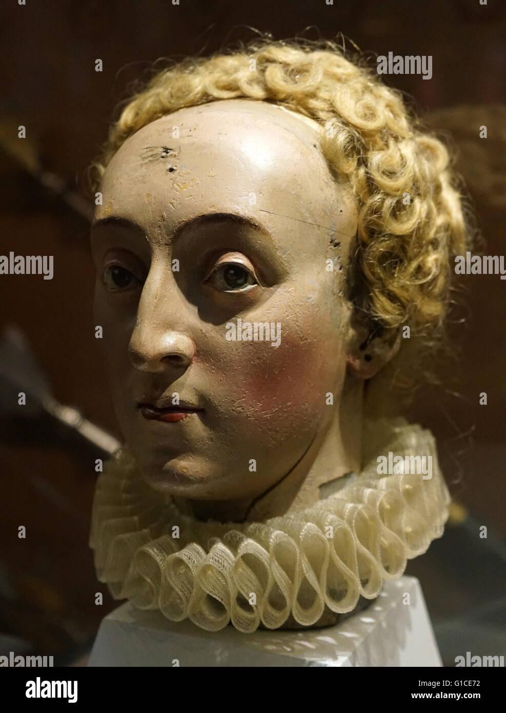 17 Jahrhundert Bild Architektur: Holzkopf Von Königin Elizabeth I. Von England (1533-1603