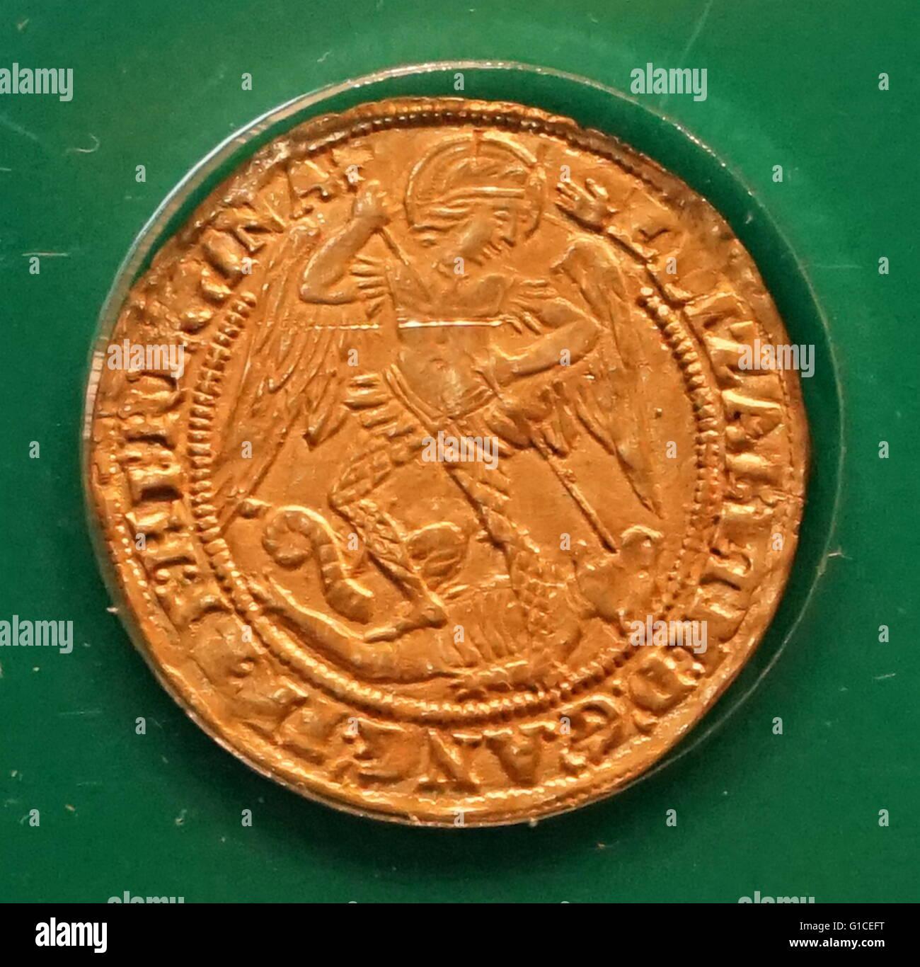 Elizabeth Ich Angel Münze Datiert Aus Dem 16 Jahrhundert Stockfoto