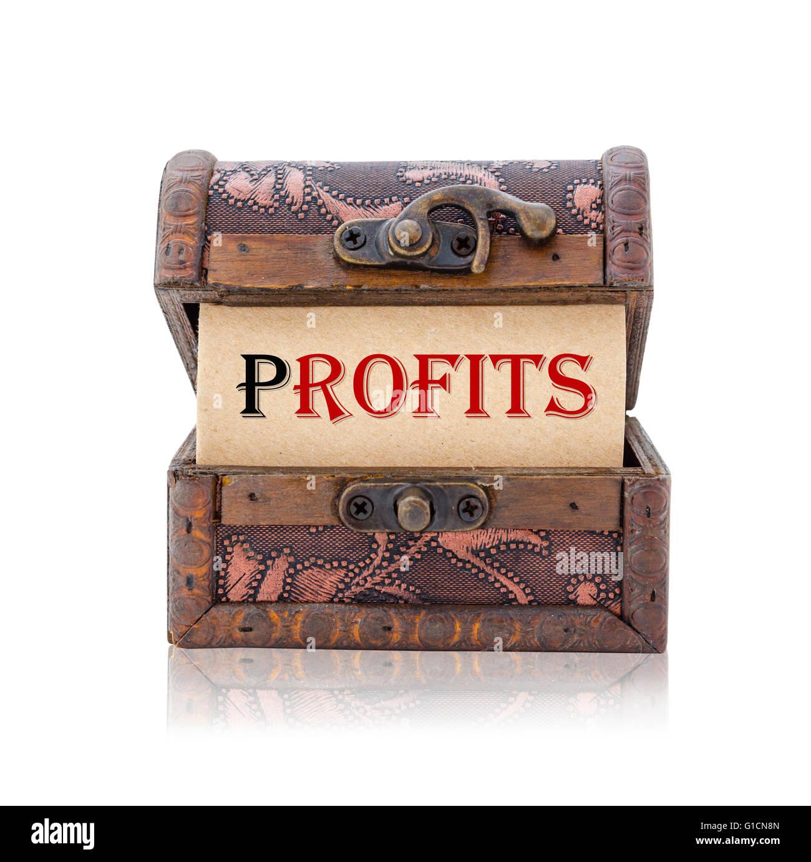 Wort in Schatztruhe isoliert auf weißem Hintergrund speichern Beschneidungspfad profitiert. Business-Konzept. Stockbild