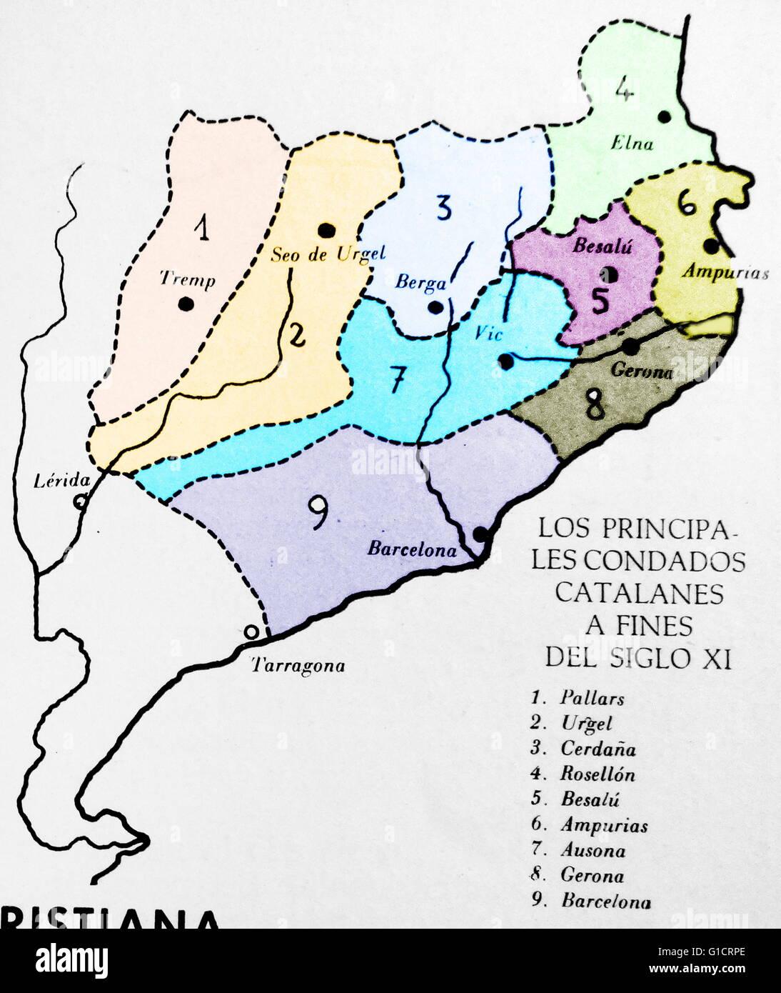Fürsten- und Herzogtümern von Katalonien am Ende des XI. Jahrhunderts Stockbild