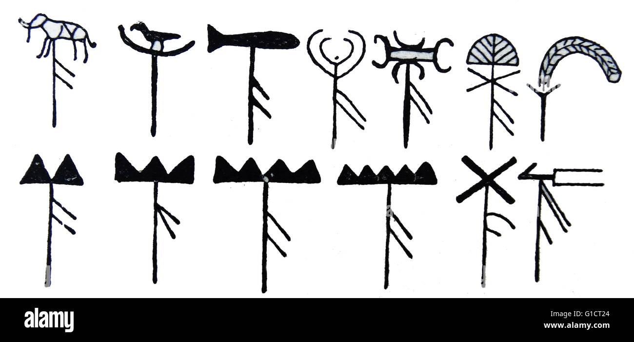 Illustrationen mit den Standards der ägyptischen Schiffe Stockbild