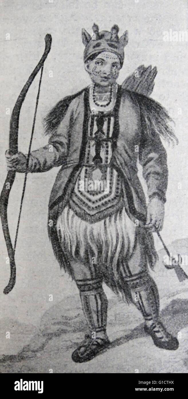 Sibirische Krieger; Russland, 1700 Stockbild