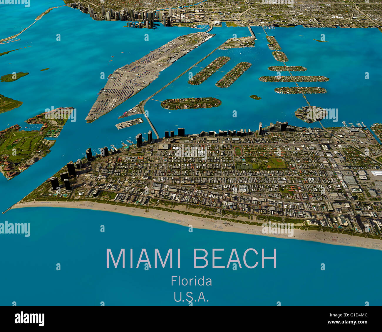 satellite view miami map florida stockfotos & satellite view