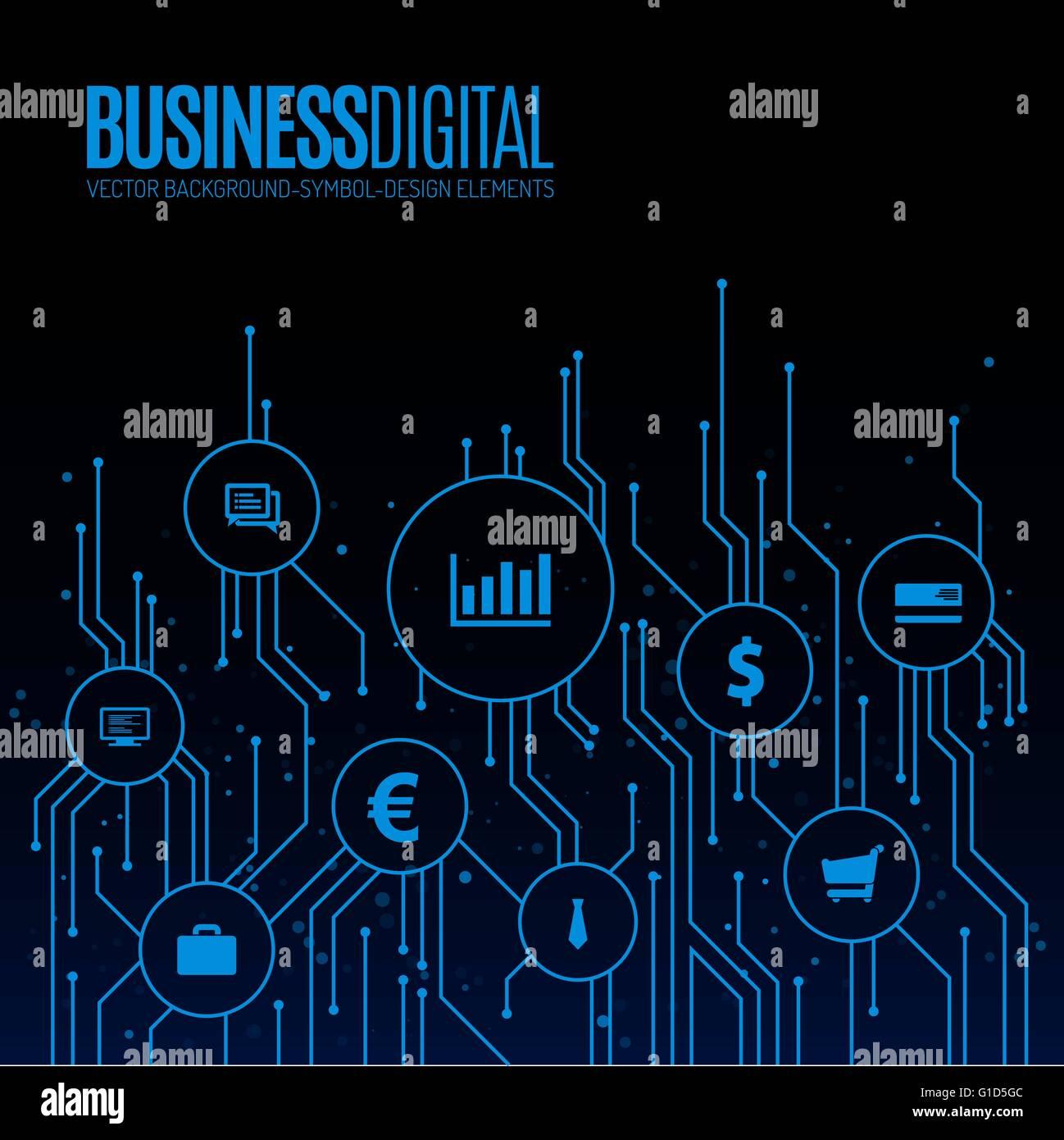 Digitale Leitungen mit Abdeckhauben für Business Symbole ...
