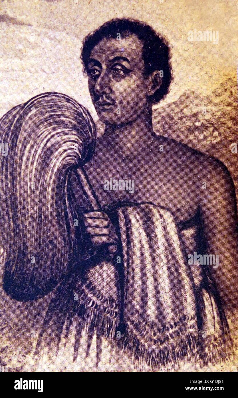 Samoan Krieger von einer ethnographischen Abbildung 1850 Stockbild