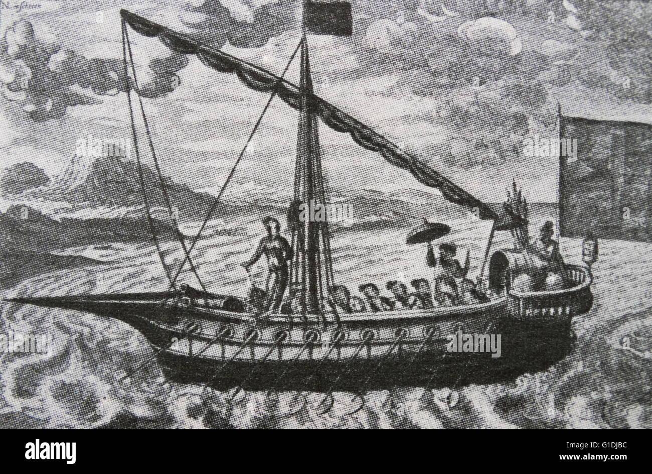 Malaiische Schiff des 16. Jahrhunderts Stockbild