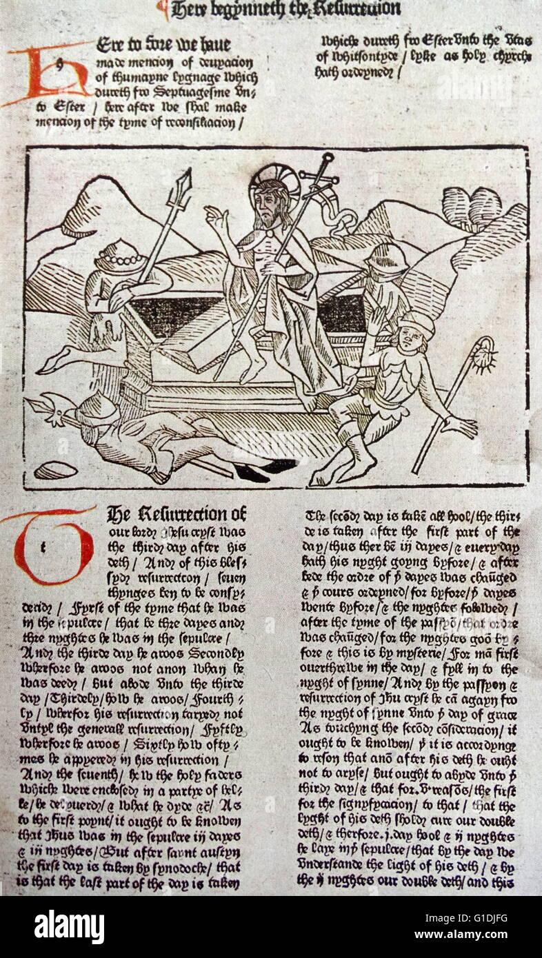 Die Auferstehung von Caxtons goldene Legende gedruckt 1483 Stockbild
