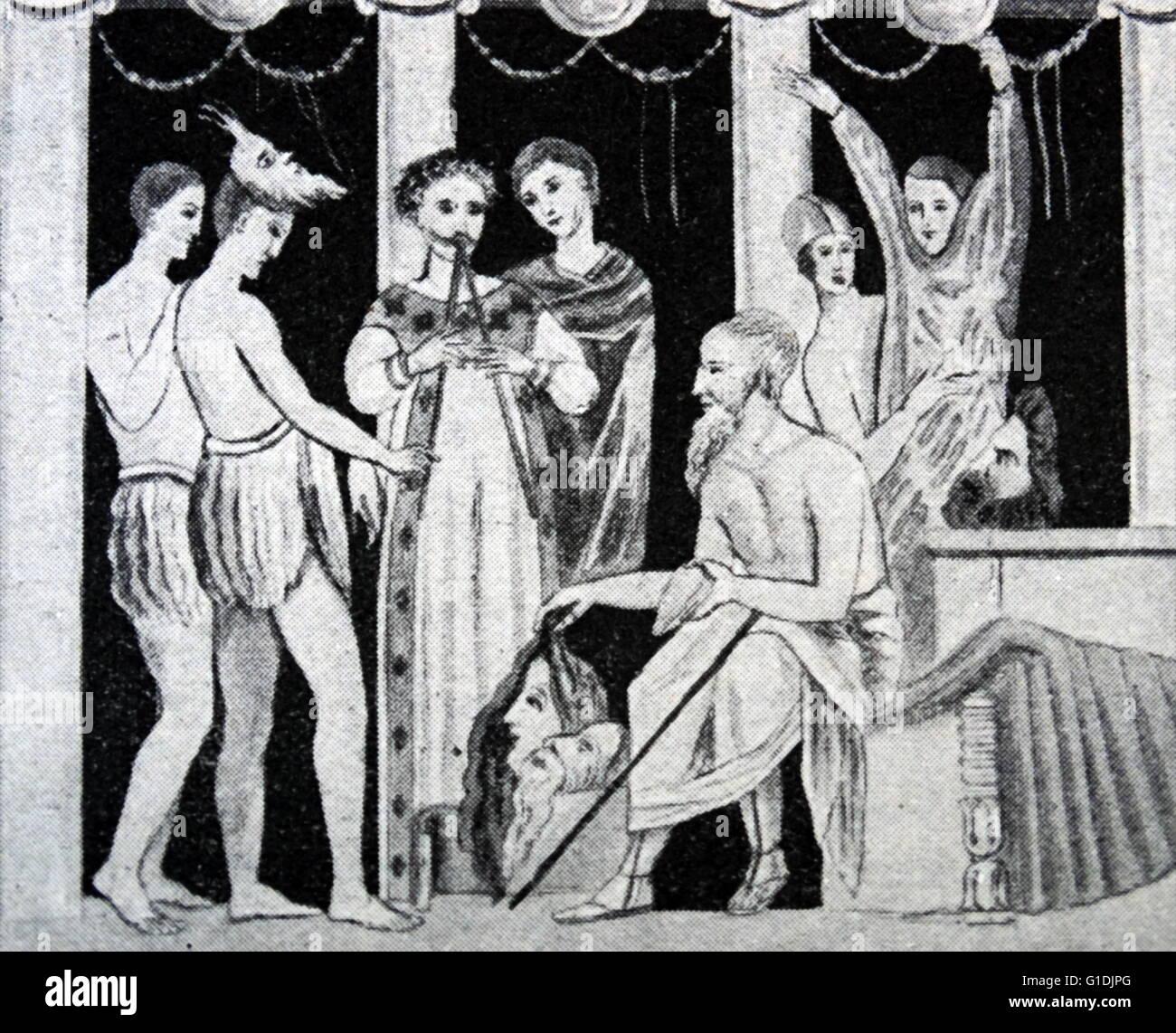 Darstellung einer Szenenverlaufs aus einem Comic Mosaik spielen in Pompeji Stockbild