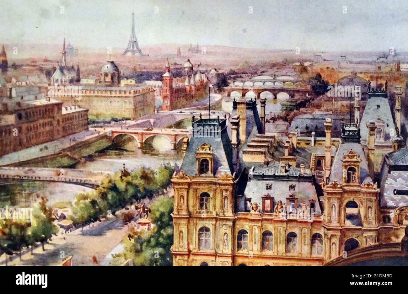 Einen Panoramablick über Paris von Margaret Dovaston (1884-1955), britischer Maler Gemälde. Vom 20. Jahrhundert Stockbild