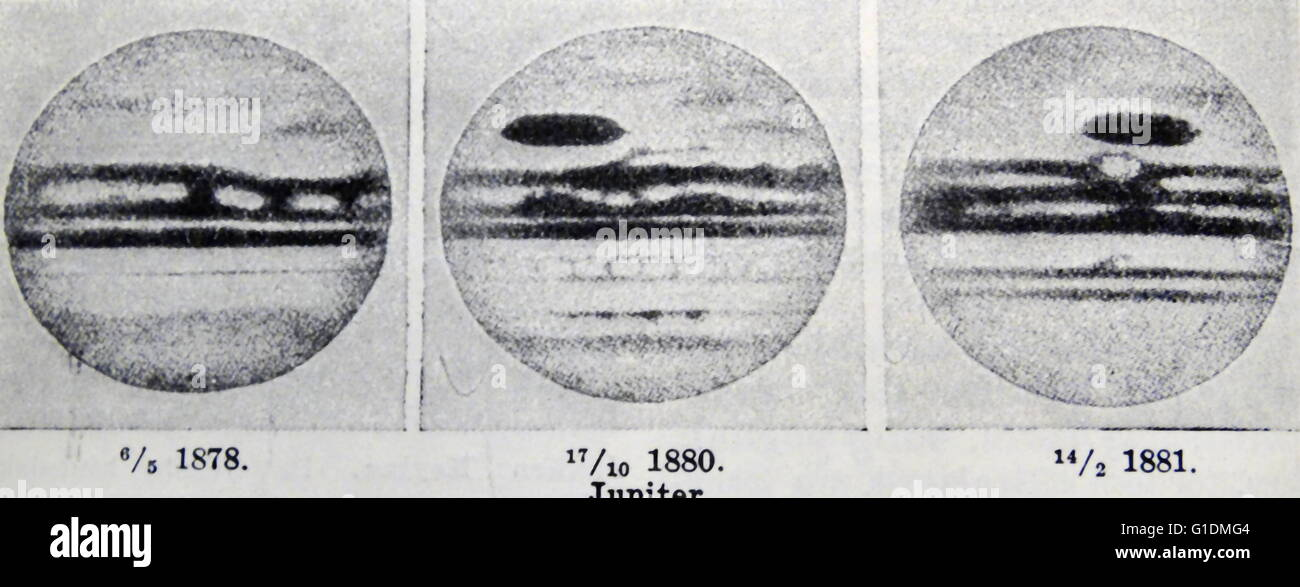 Fotografische Abzüge des Planeten Jupiter während des 19. Jahrhunderts. Stockbild
