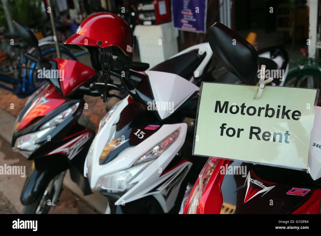 Tourismus. Motorrad zu mieten.  Vientiane. Laos. Stockbild