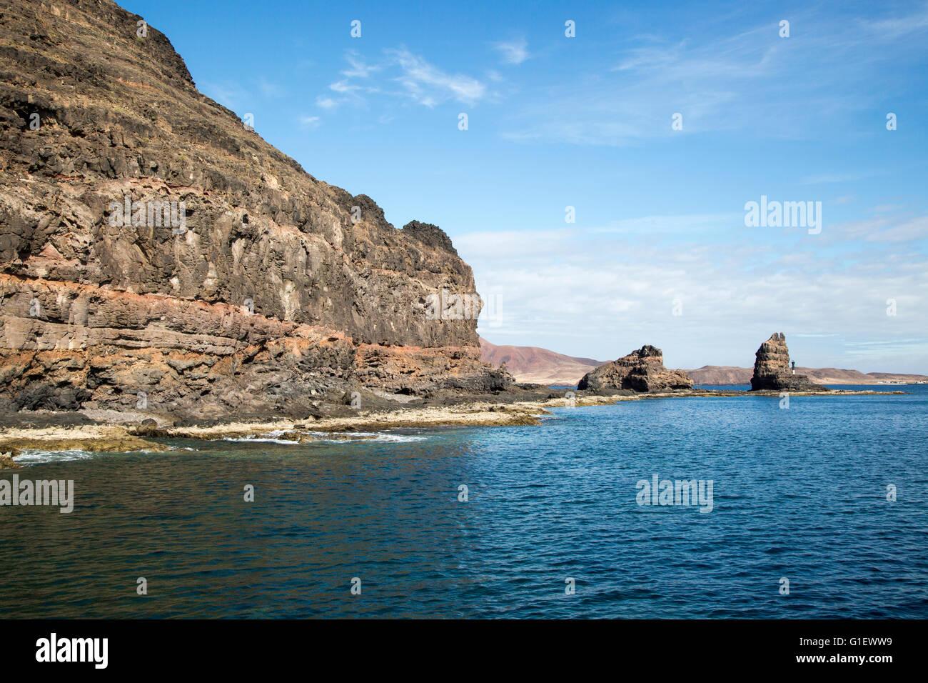 Felsige Landzunge von Punta Fariones, Chinijo-Archipel, Orzola, Lanzarote, Kanarische Inseln, Spanien Stockbild