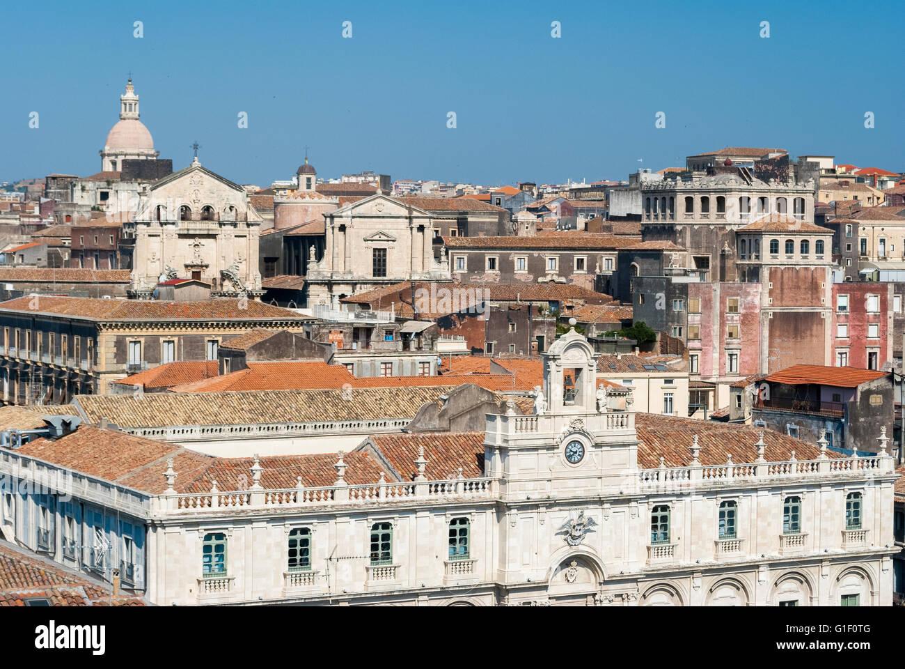 Draufsicht der historischen Innenstadt von Catania Stockbild