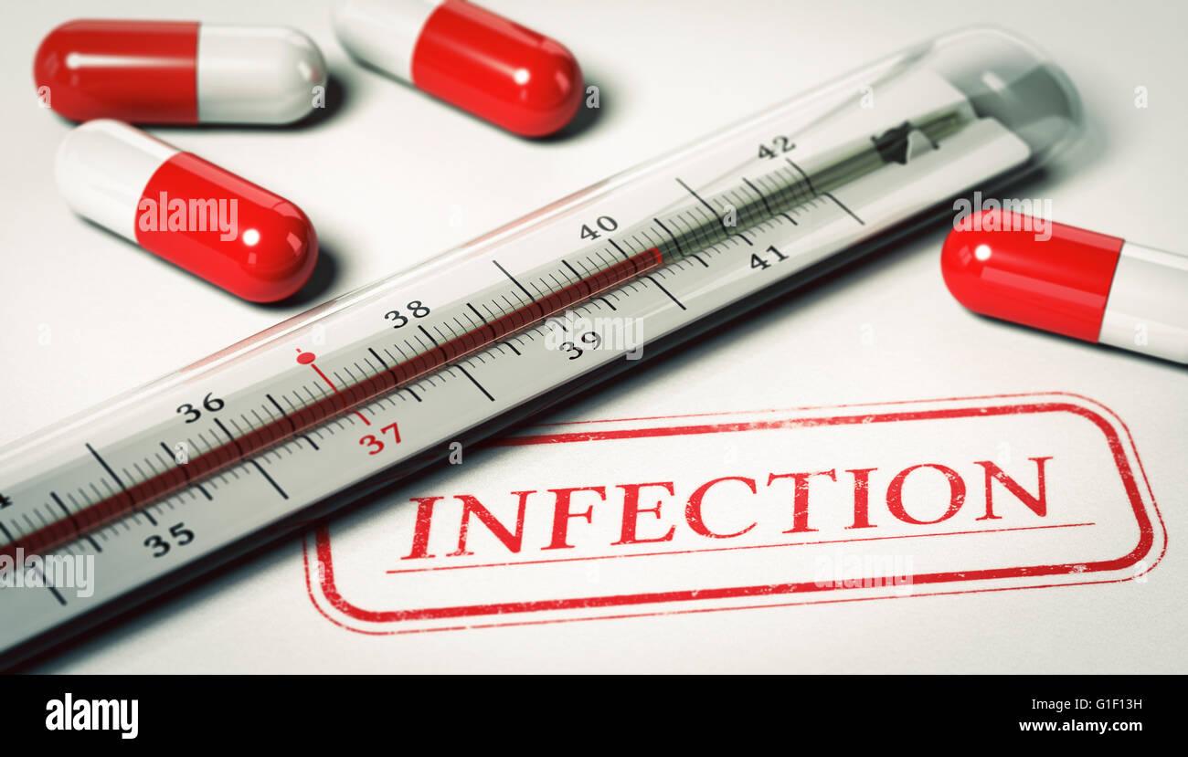 3D Darstellung von einem Thermometer und Pille mit der Wort-Infektion. Konzept der Krankheit. Stockbild