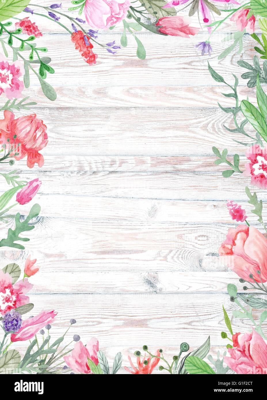 Shabby Chic Vintage Kartenvorlage Für Hochzeit, Sommer Event Einladung,  Menü, Tischkarte Mit Wiesenblumen Und Kräuter