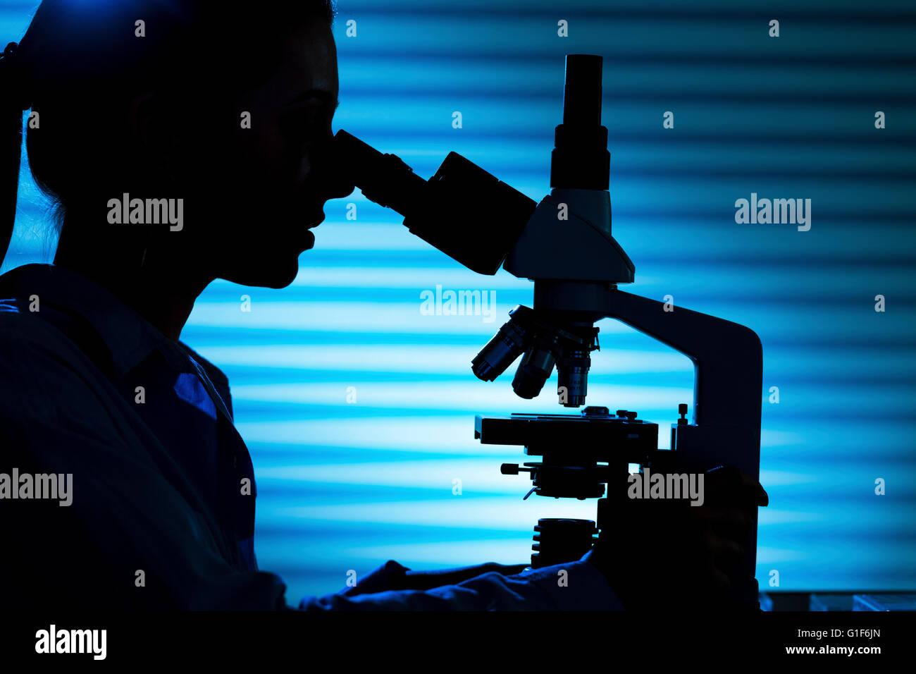 -MODELL VERÖFFENTLICHT. Silhouette von einer Wissenschaftlerin, die unter Verwendung eines Mikroskops. Stockbild
