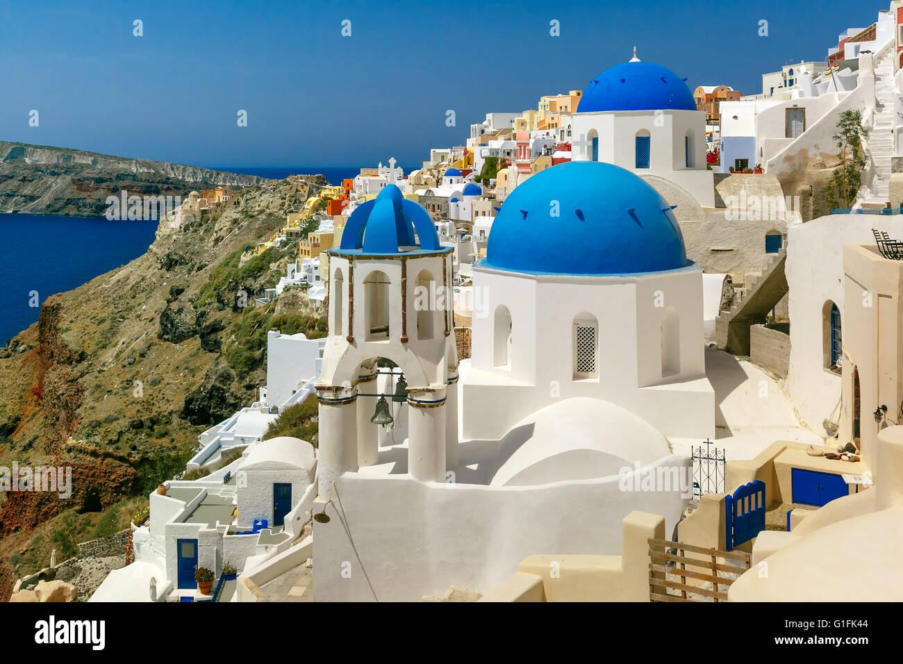 Malerische Aussicht von Oia, Santorini, Griechenland Stockbild
