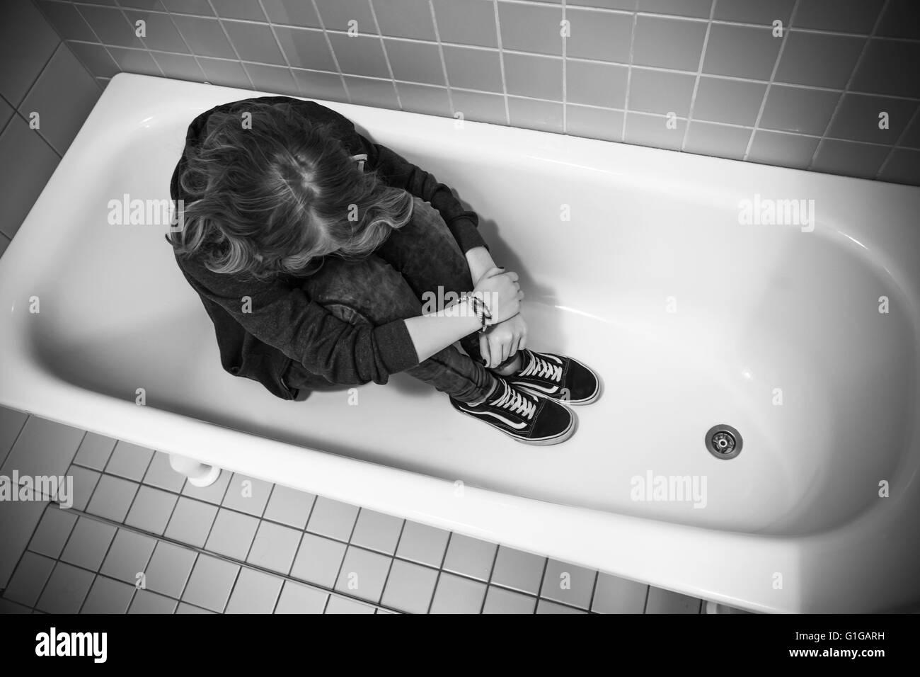 Depression Konzept Gestresste Traurig Kaukasischen Mädchens In