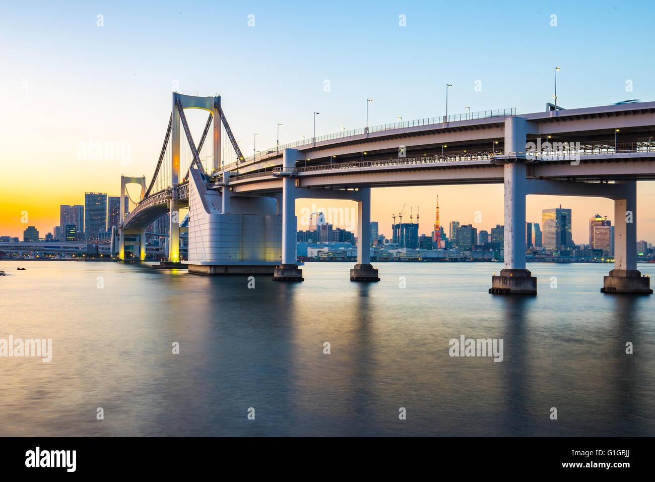 Stadtbild von Tokio Blick von Odaiba. Stockbild