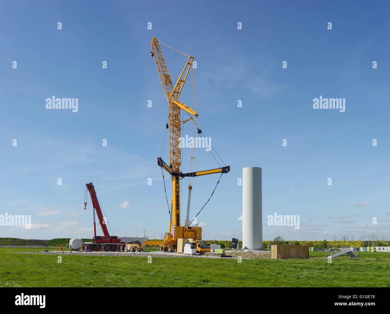 Bau einer Windkraftanlage im Windpark Frodsham, Cheshire UK Stockbild